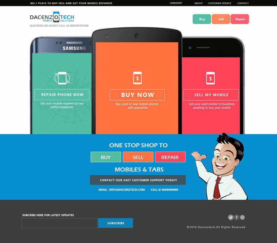 Kilpailutyö #77 kilpailussa Design a Website Mockup for a Mobile Device Company
