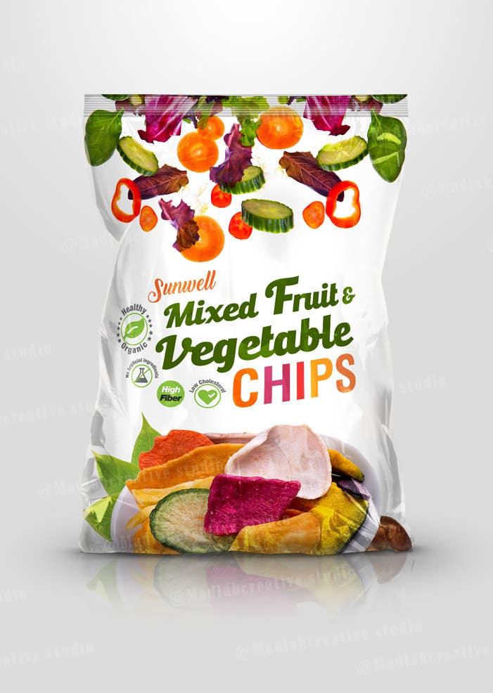 "Kilpailutyö #10 kilpailussa Create Print and Packaging Designs for Health snack ""Veggie and Fruit chip """