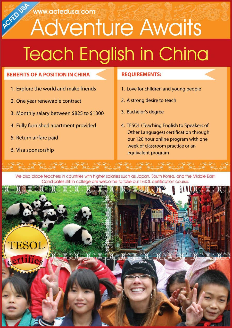 "#67 for Design a Flyer: ""Adventure Awaits - Teach English in China"" by amcgabeykoon"