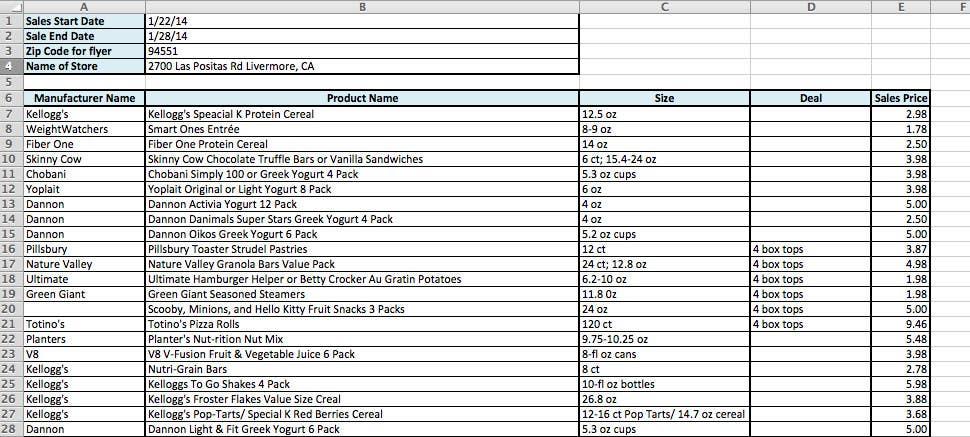 Konkurrenceindlæg #                                        5                                      for                                         Capture information for store website sales flyers and enter into spreadsheet