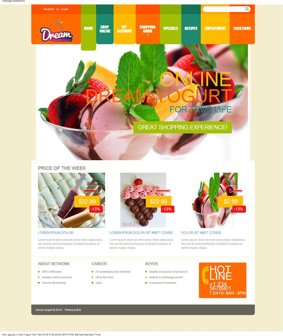 #8 for Yogurt website Home page by karlmc15