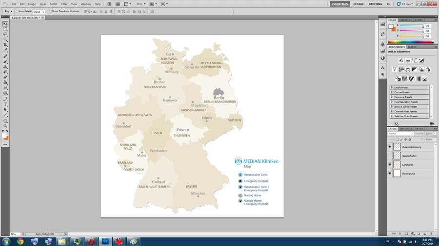 Bài tham dự cuộc thi #16 cho I need some Graphic Design of a map of Germany in less than 24 hours.