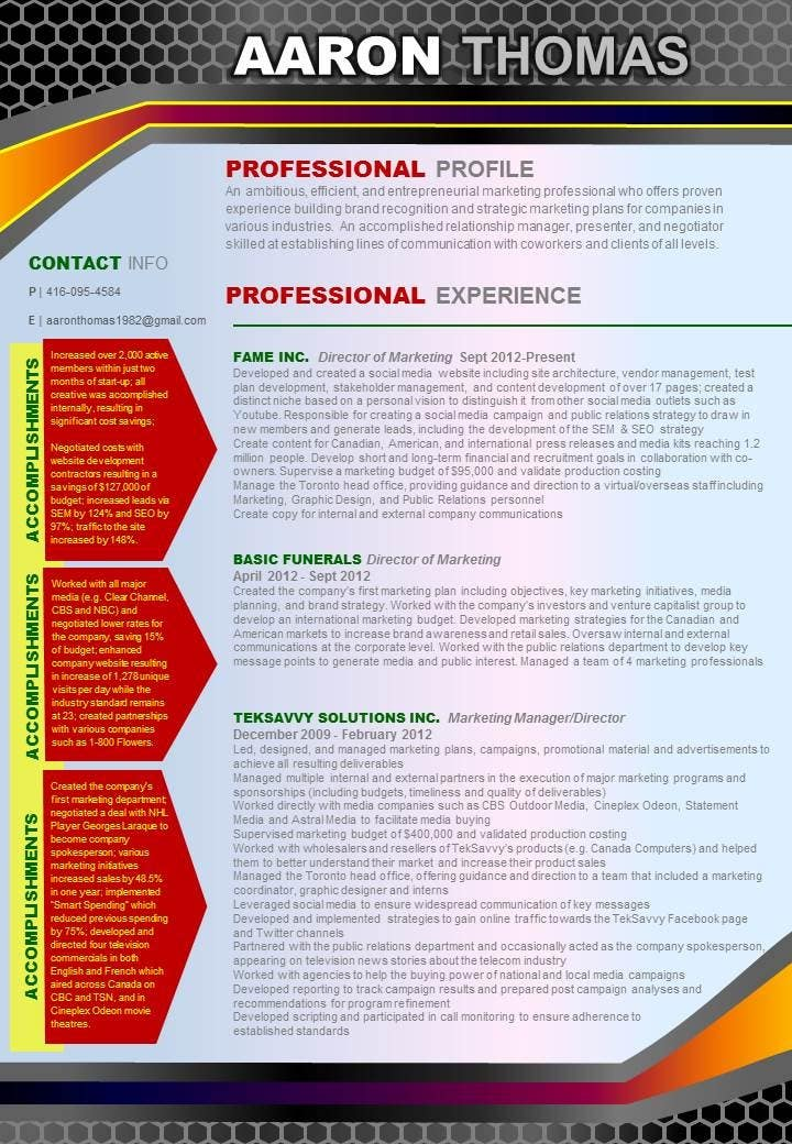 Proposition n°15 du concours convert my resume to an eye catching graphic resume