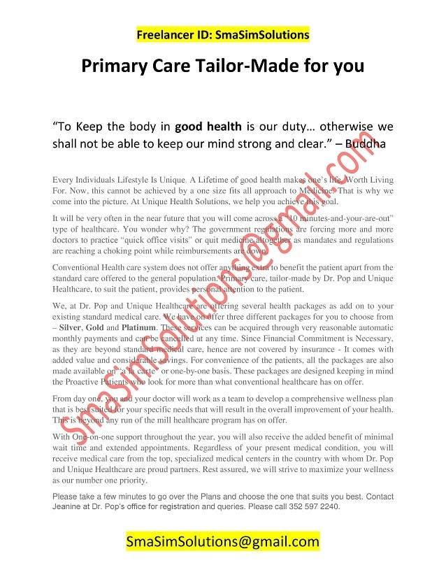 Inscrição nº 27 do Concurso para Content Writing for Medical Office Brochure