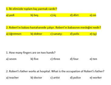 "akarakas tarafından Write Exam questions for ""TURKISH"" language için no 3"