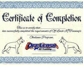 #73 untuk Design a Certificate of Completion For Dog Training Business oleh AndersonLipa7
