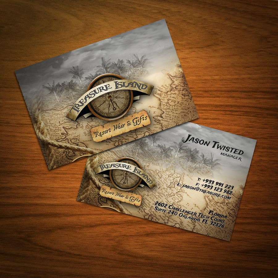 Kilpailutyö #                                        66                                      kilpailussa                                         Business Card Design for Treasure Island Resort Wear & Gifts