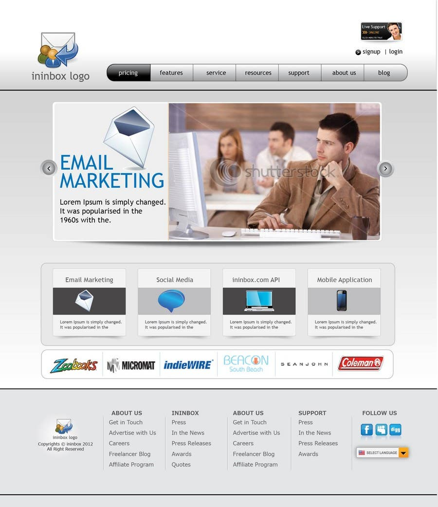 Contest Entry #                                        43                                      for                                         Website Design for ininbox.com