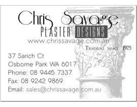 #2 para Business Card Design for Chris Savage Plaster Designs por youngworker