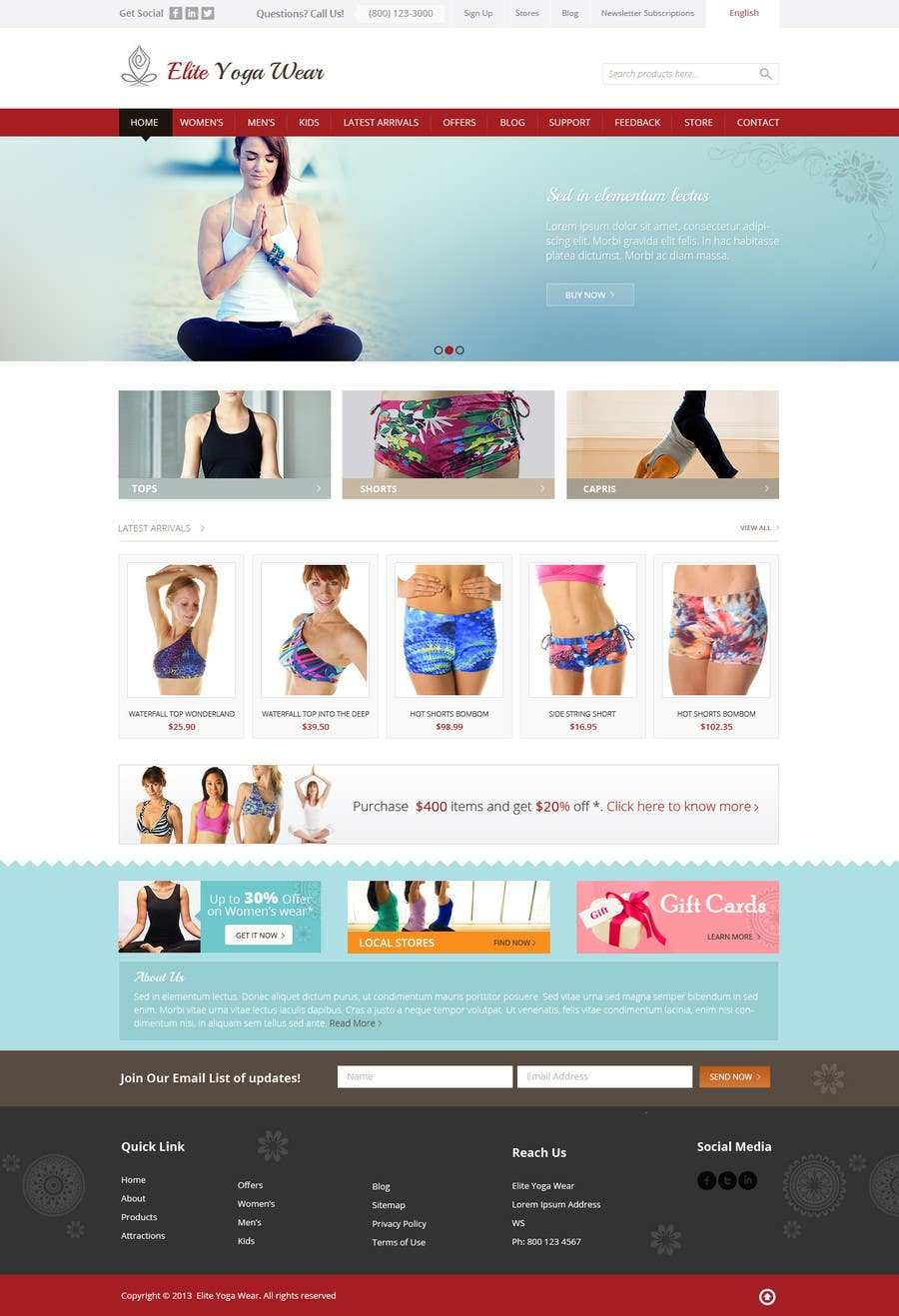 #135 for Design a Website Mockup for Elite Yoga Gear by Pavithranmm