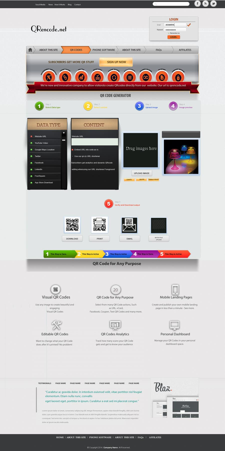 #55 for Design a Website User Interface for QRcode generation company by sethusreeram