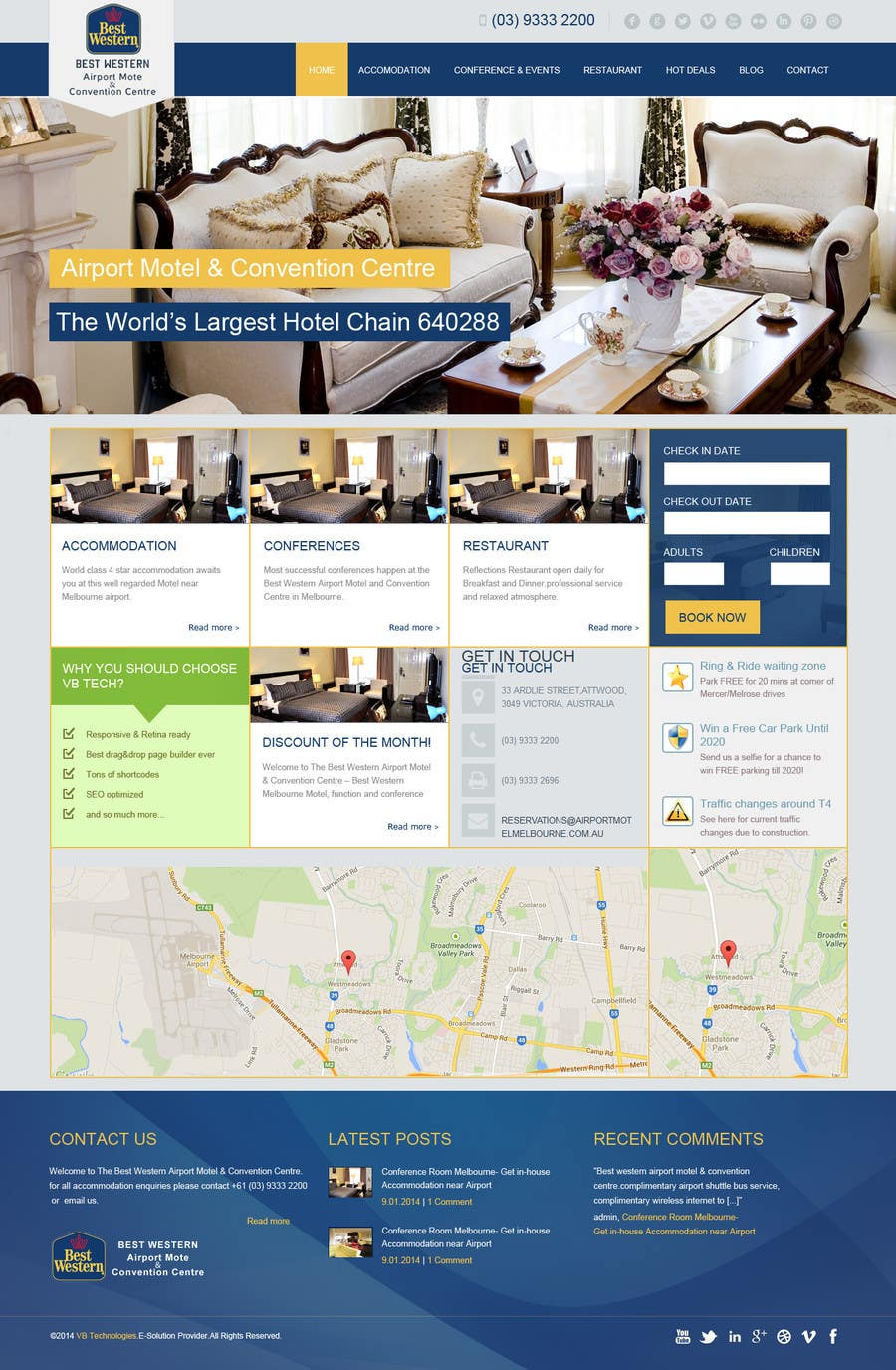 Proposition n°30 du concours Create a Wordpress Template for Hotel