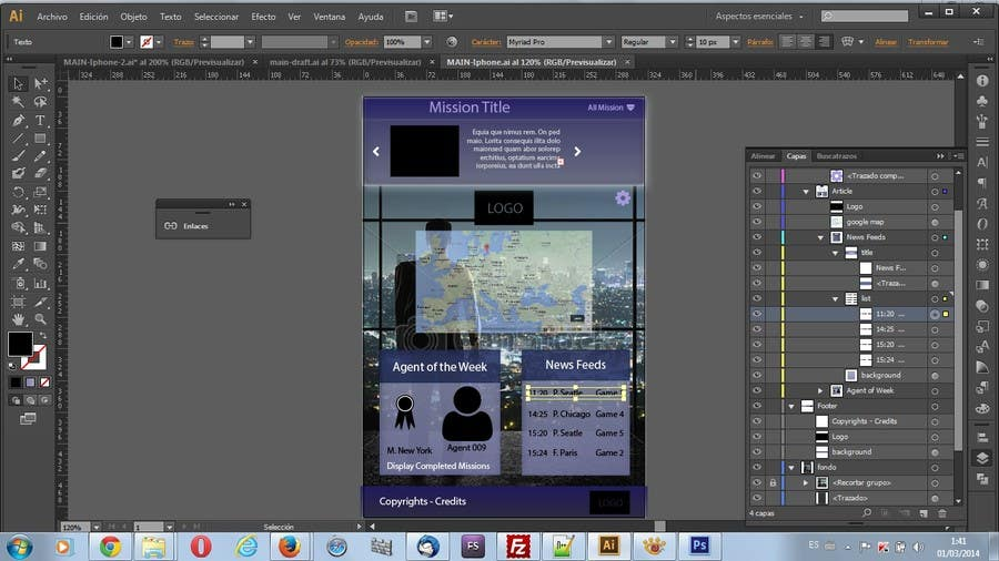 """#11 for Design a mockup of web-based game with a """"secret agent"""" theme by lauranl"""
