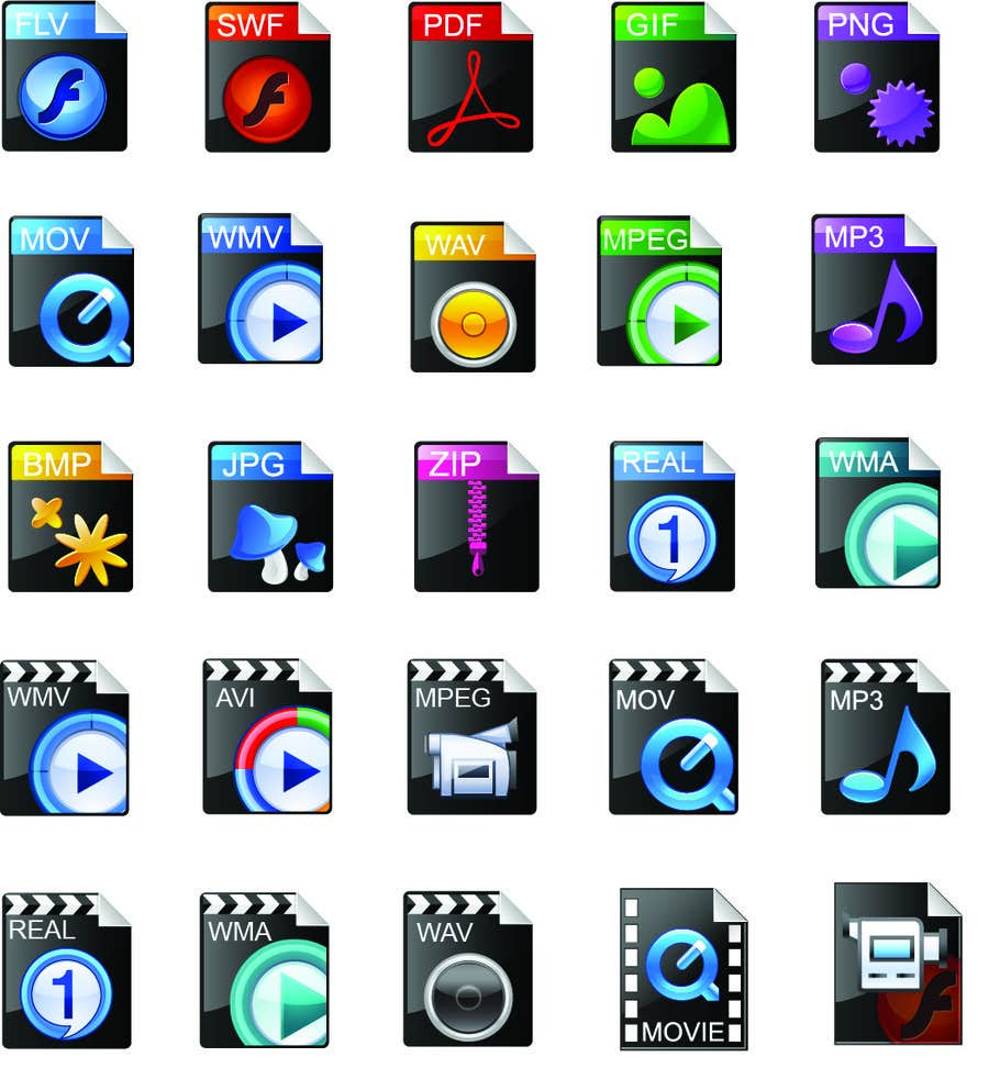 #4 for Design modern icons for media file types by fo2shawy001