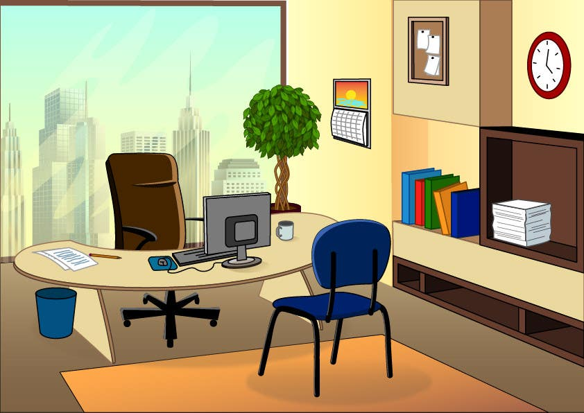 cartoon office background freelancer