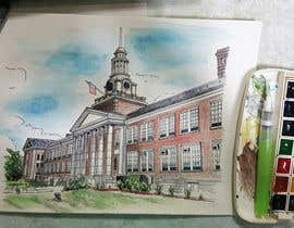 chi219 tarafından Draw Colored Sketch The College of New Jersey Green Hall For Diploma Frame için no 24