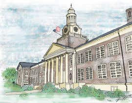 andresuzz tarafından Draw Colored Sketch The College of New Jersey Green Hall For Diploma Frame için no 18
