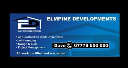 #12 para Design a Banner for 'Elmpine Developments por nuwangrafix
