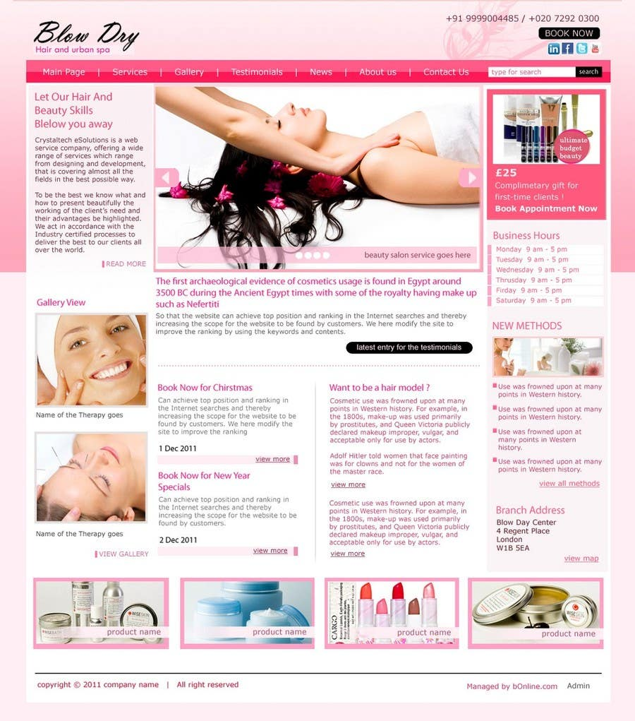 #52 for Design a Website Mockup for beauty site by online3
