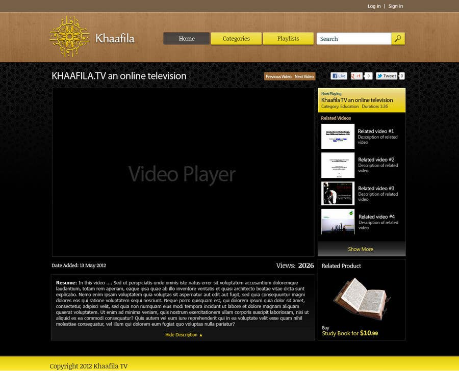 #7 for Website Design for KHAAFILA.TV  and HIJRAH.TV online televisions by JohnRomania