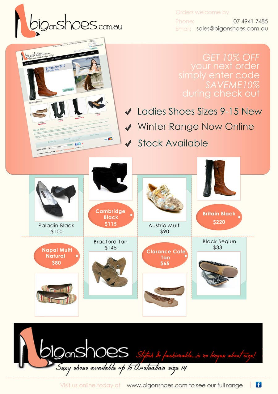 Contest Entry #                                        69                                      for                                         Brochure Design for Big On Shoes- Online Shoe Retailer