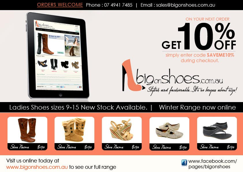 Inscrição nº                                         110                                      do Concurso para                                         Brochure Design for Big On Shoes- Online Shoe Retailer