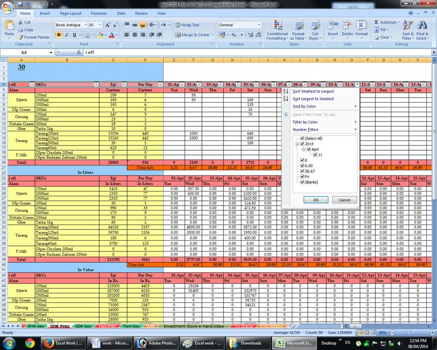 #8 for Excel Work by engrofood700