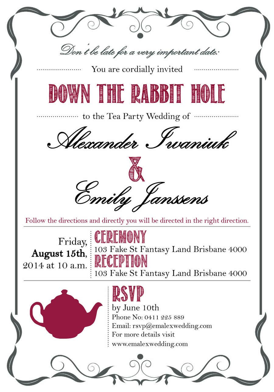 Entry #16 by kc11 for Tea Party Wedding Invitation Alice in ...