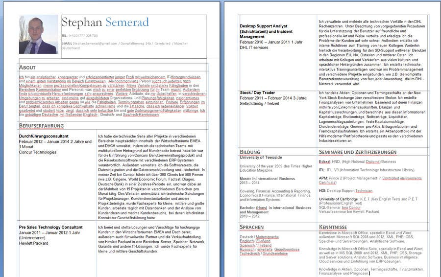 Entry 6 By Orothred For Translating Cv From English In German