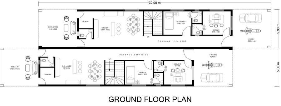 #40 for Provide a floor plan for a duplex by eegleyez