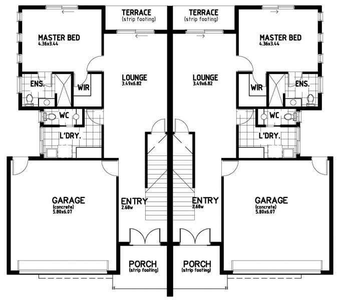 #22 for Provide a floor plan for a duplex by Mostafa211
