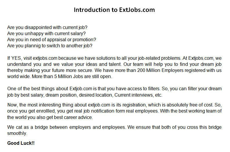#7 for Write my Product Descriptions for ExtJobs.com Video by writersquality