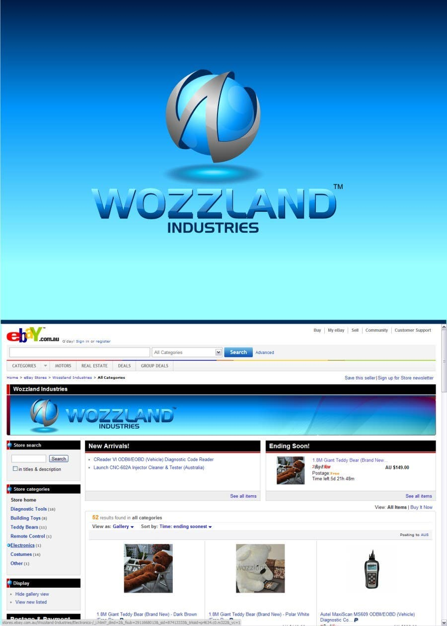 #189 for Logo & eBay Store Design for Wozzland Industries by coreYes