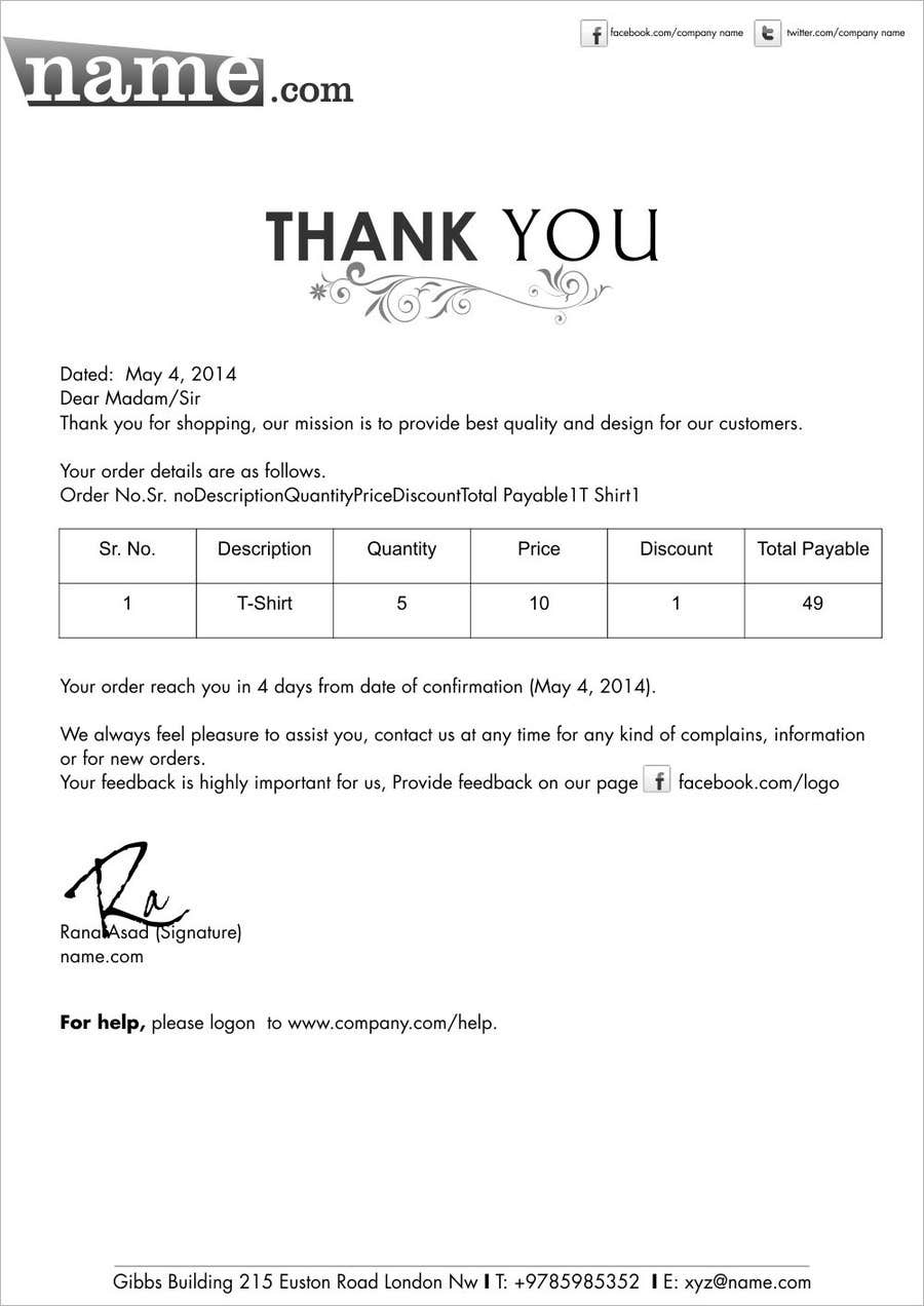 Proposition n°13 du concours Design a draft of Thank You letter for a clothing company