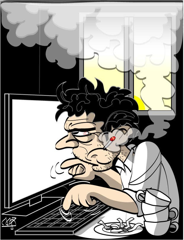 Bài tham dự cuộc thi #                                        12                                      cho                                         Workaholic illustration or cartoon. Design single-panel illustration or cartoon symbolizing a Workaholic (multiple winners possible).