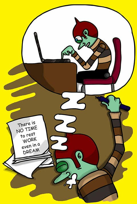 Bài tham dự cuộc thi #                                        6                                      cho                                         Workaholic illustration or cartoon. Design single-panel illustration or cartoon symbolizing a Workaholic (multiple winners possible).