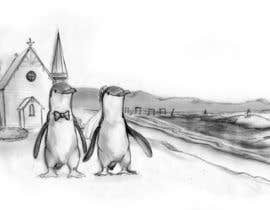 #42 для Drawing / cartoon for wedding invite with penguins near the surf от Ferrignoadv