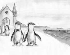 Nro 46 kilpailuun Drawing / cartoon for wedding invite with penguins near the surf käyttäjältä Ferrignoadv
