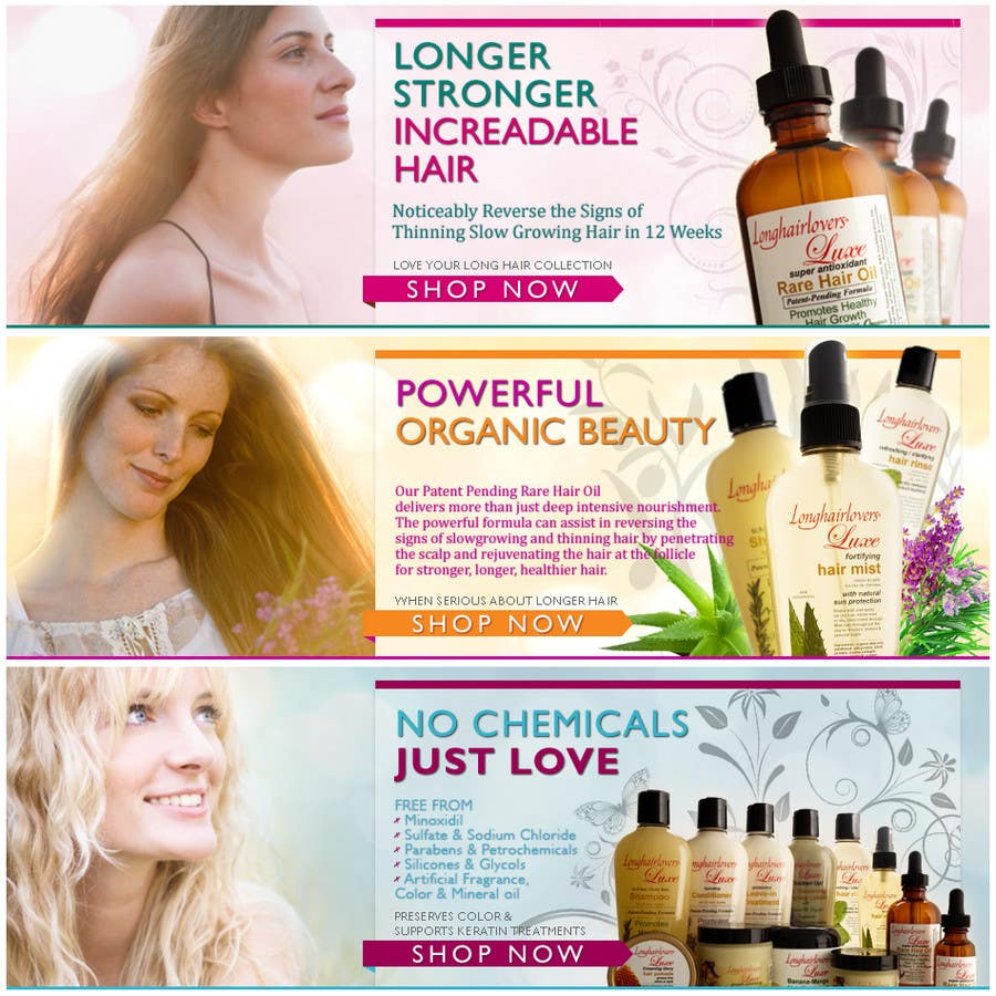 Contest Entry #21 for Banner Ad Design for 3 Organic Hair Care Website