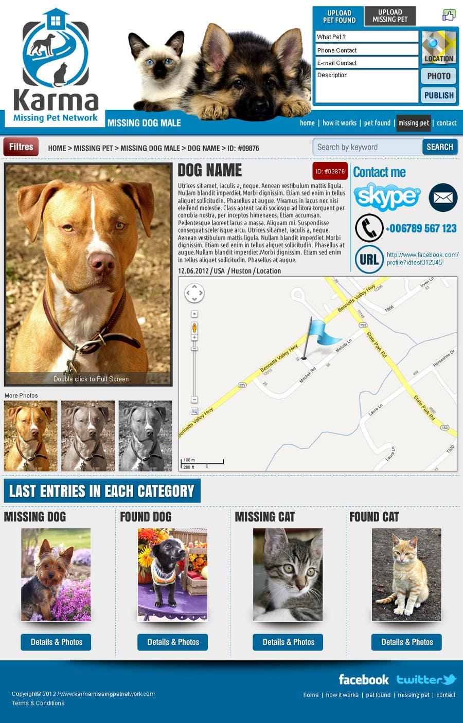 Kilpailutyö #                                        15                                      kilpailussa                                         Website Design for Karma Missing Pet Network