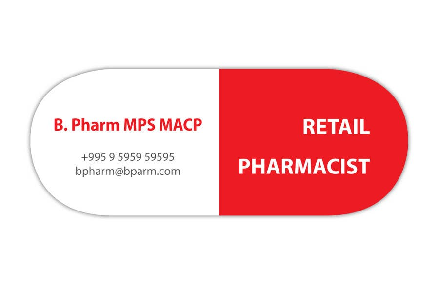 Entry 13 by insanino for personal business card design for Pharmacist business card