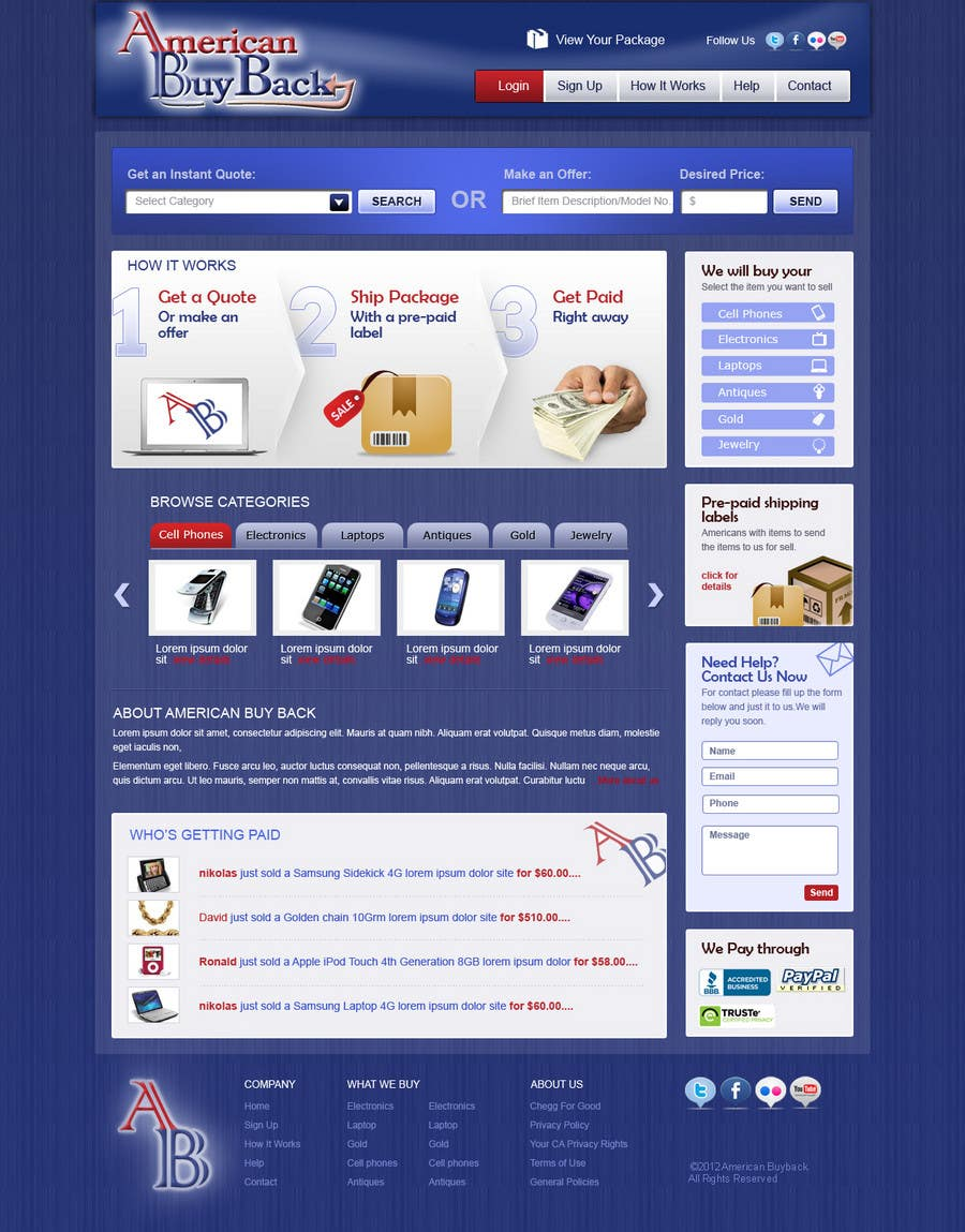 Penyertaan Peraduan #111 untuk Website Design for American Buy Back! Buying Electronics Antiques Gold and valuables Online w/Cash