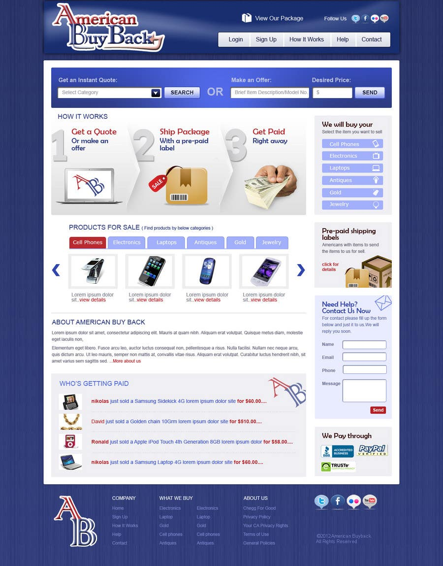 Inscrição nº 49 do Concurso para Website Design for American Buy Back! Buying Electronics Antiques Gold and valuables Online w/Cash