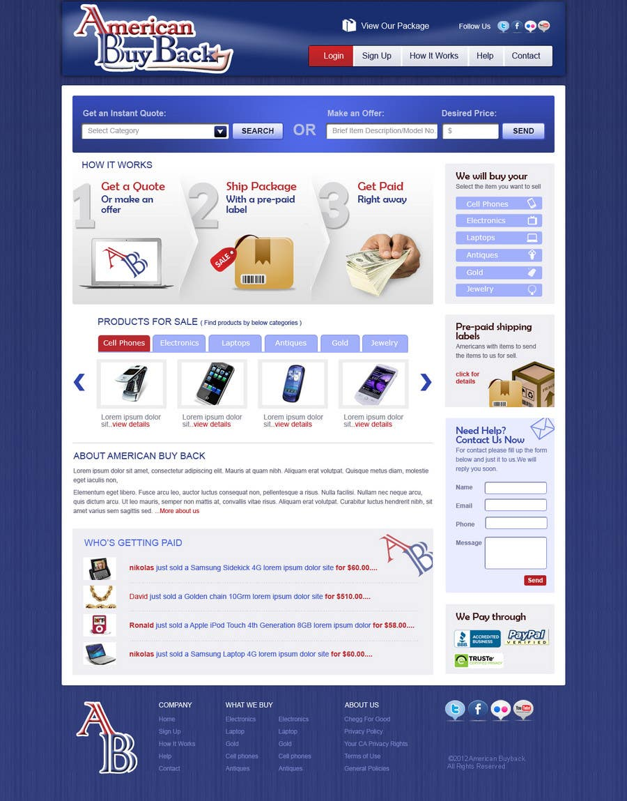 Inscrição nº 55 do Concurso para Website Design for American Buy Back! Buying Electronics Antiques Gold and valuables Online w/Cash