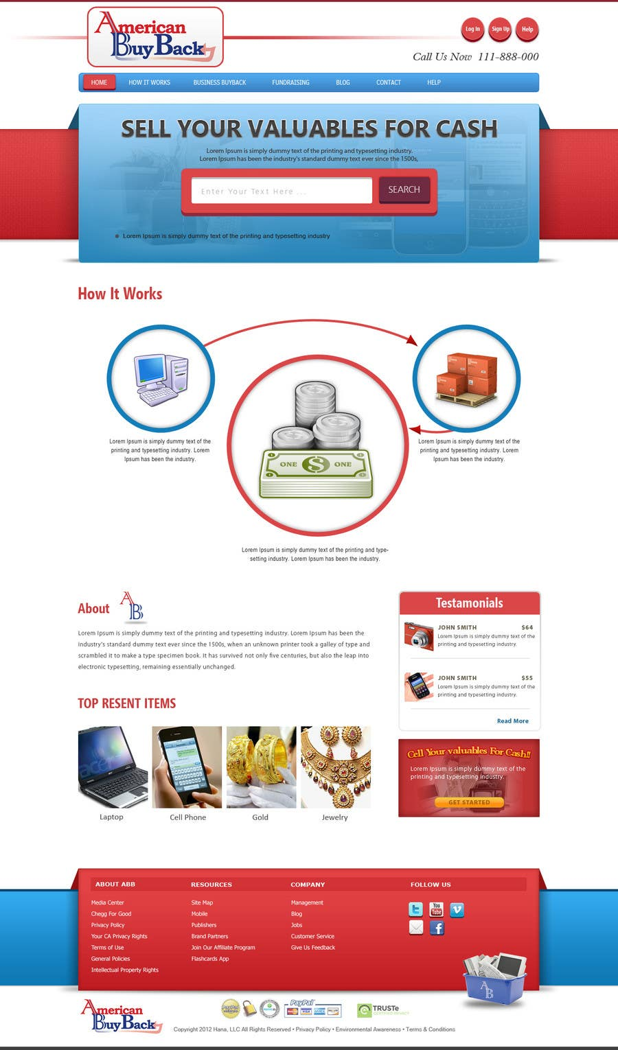 Penyertaan Peraduan #106 untuk Website Design for American Buy Back! Buying Electronics Antiques Gold and valuables Online w/Cash