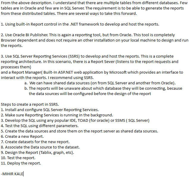 oracle ad hoc reporting