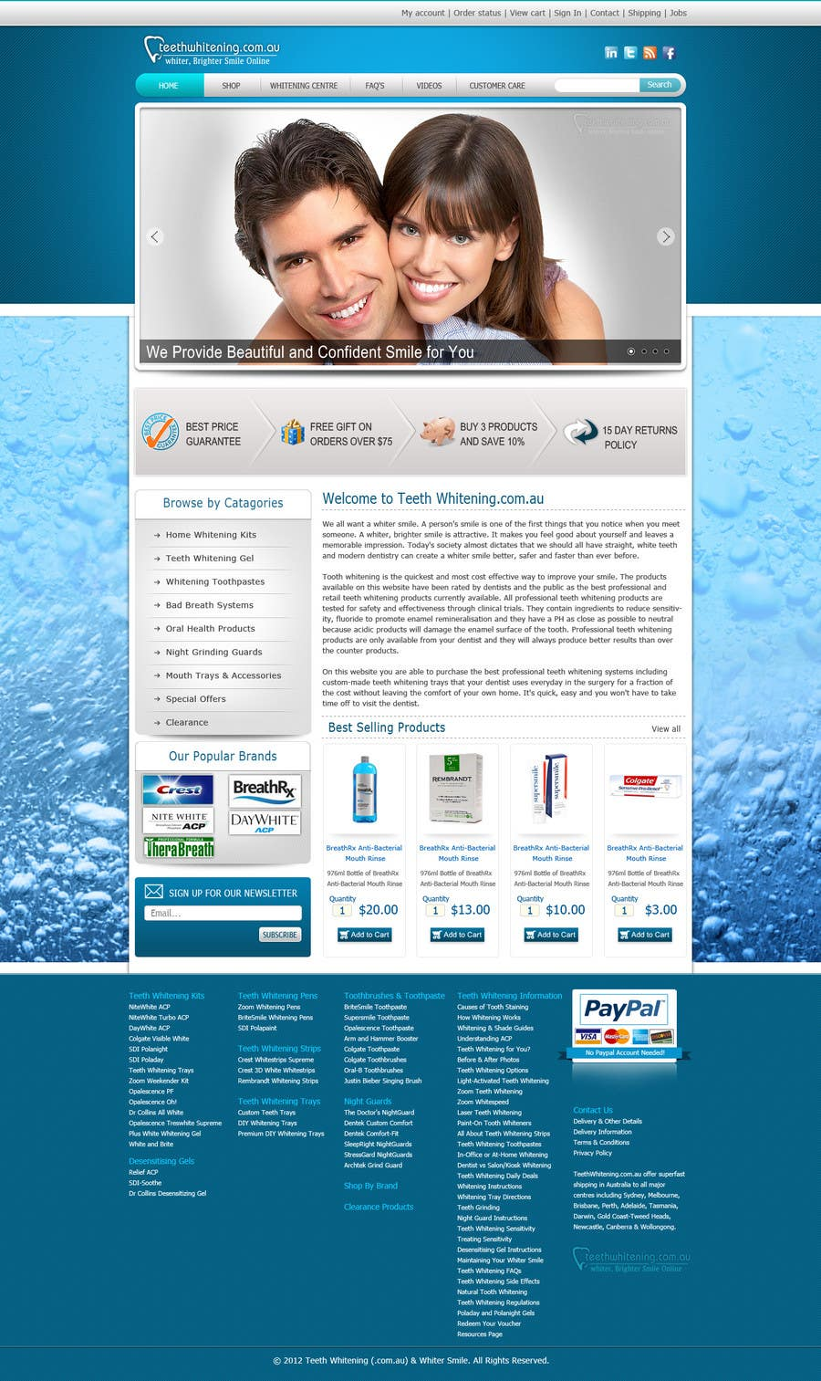Konkurrenceindlæg #64 for Website Design for Teeth Whitening Australia (Online Retailer)