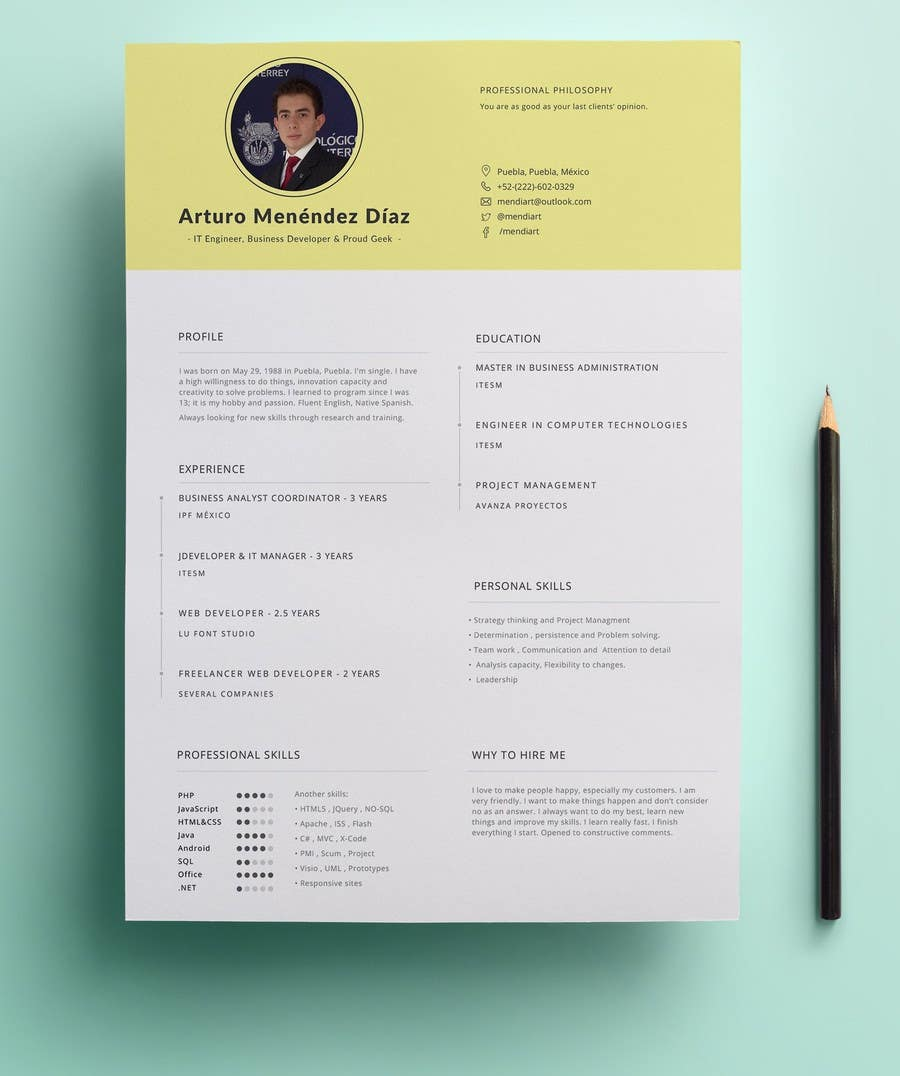 Entry 1 By Munanazzal For Design An Original And Stylish Cv Format