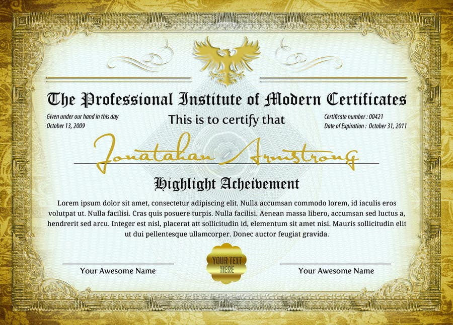Entry 8 By Geelator For Certificate Design In Vector Psd