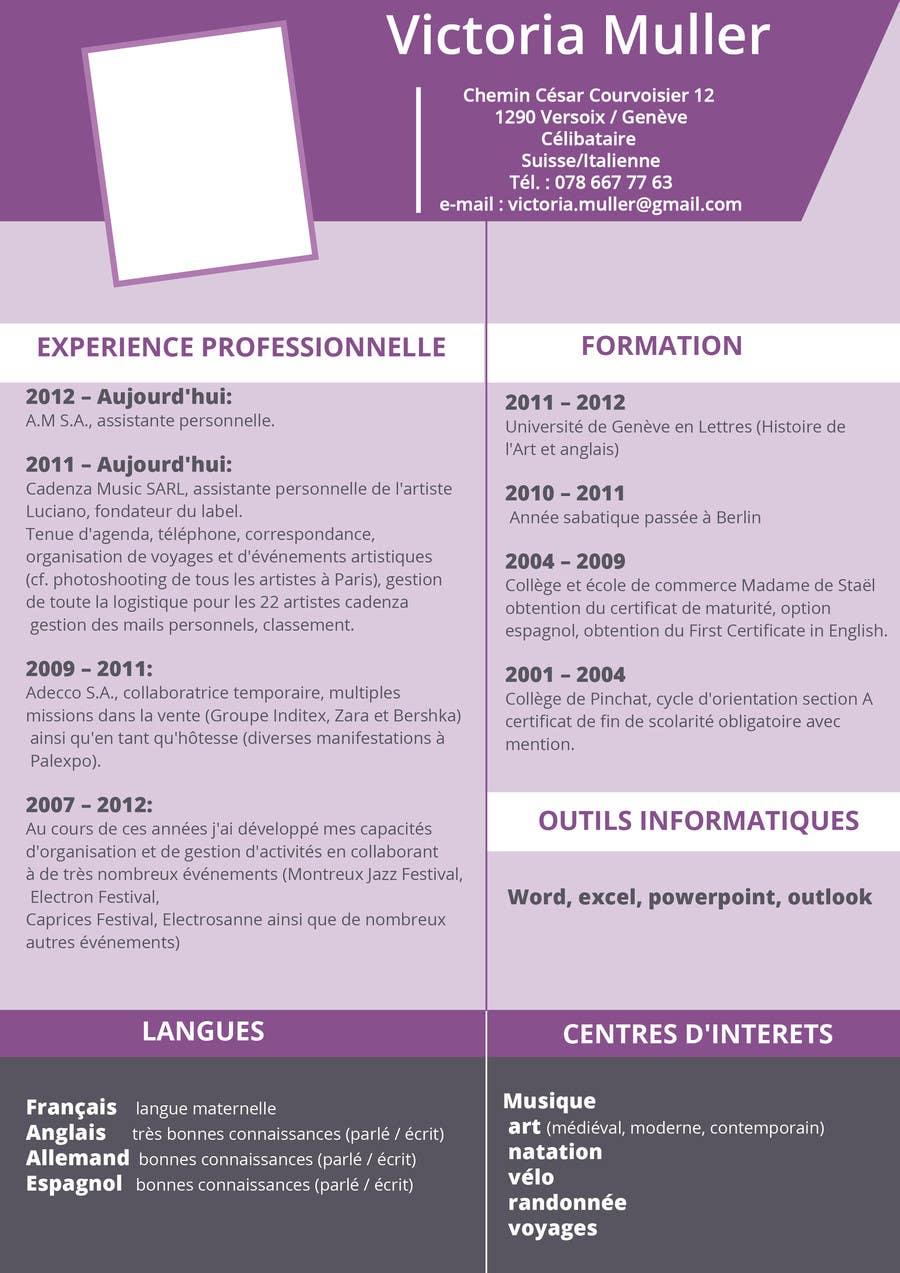 entry  2 by jassirsaid for concours  designer un cv pour une assistante de direction